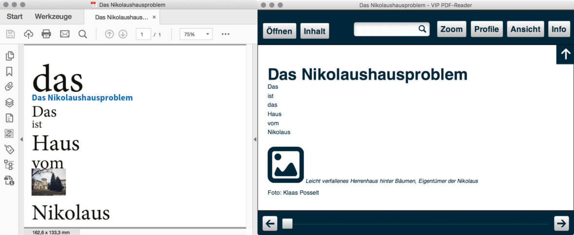 PDF-Tag-Struktur eines Dokumentes dargestellt in einem alternativen Anzeigeprogramm