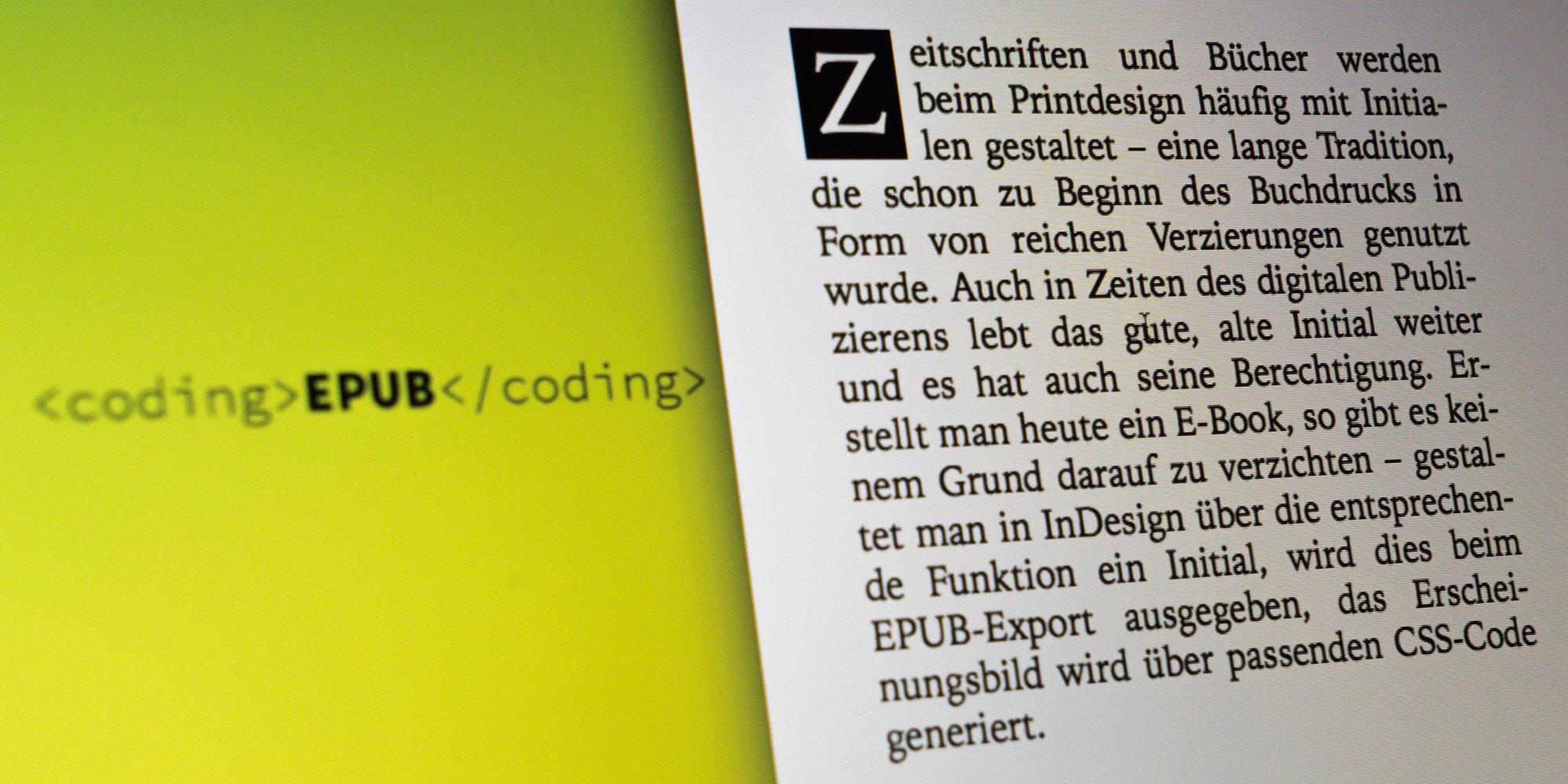 Bildschirmfoto von einem E-Book Initial