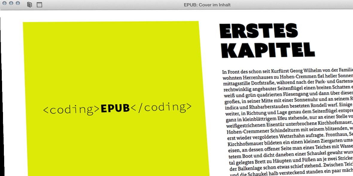 Bildschirmfoto iBooks mit einem Cover neben Text