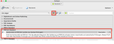 Bildschirmfoto Prüfungen in Acrobat, Hervorhebung von PDF/UA