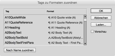 InDesign: Tags zu Formaten zuordnen