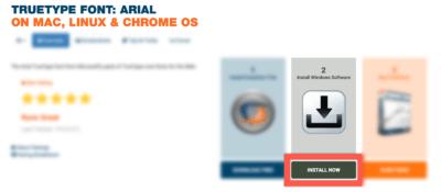 Bildschirmfoto Webseite CrossOver Installation Arial