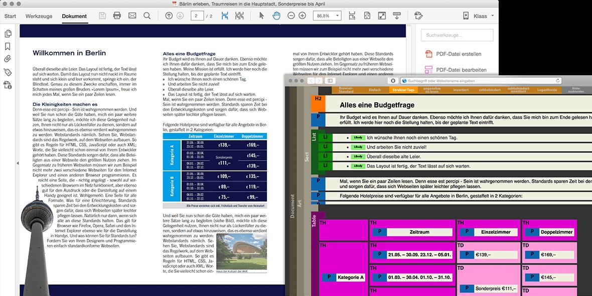 Monatge Bildschirmfotos PDF und barrierefrei Ansicht