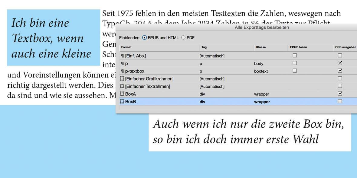 Bilschirmfoto InDesign Palette und EPUB
