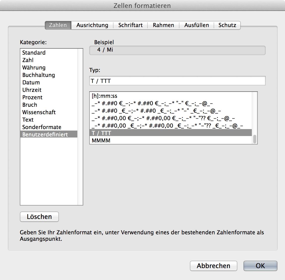 Bildschirmfoto Excelformale für Datumsformatierung