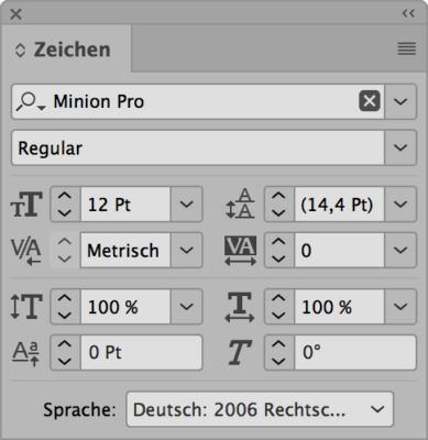 Bedienfeld Zeichen in InDesign