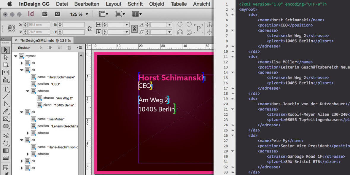 Bildschrimfoto InDesign & XML