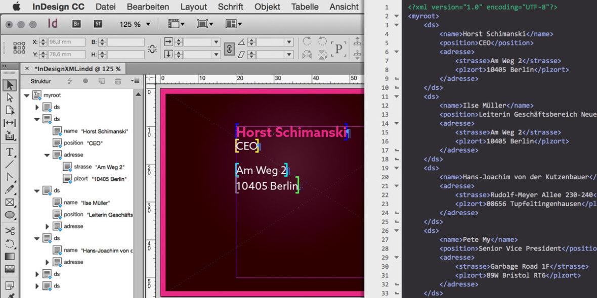 Bildschrimfoto InDesign & XML