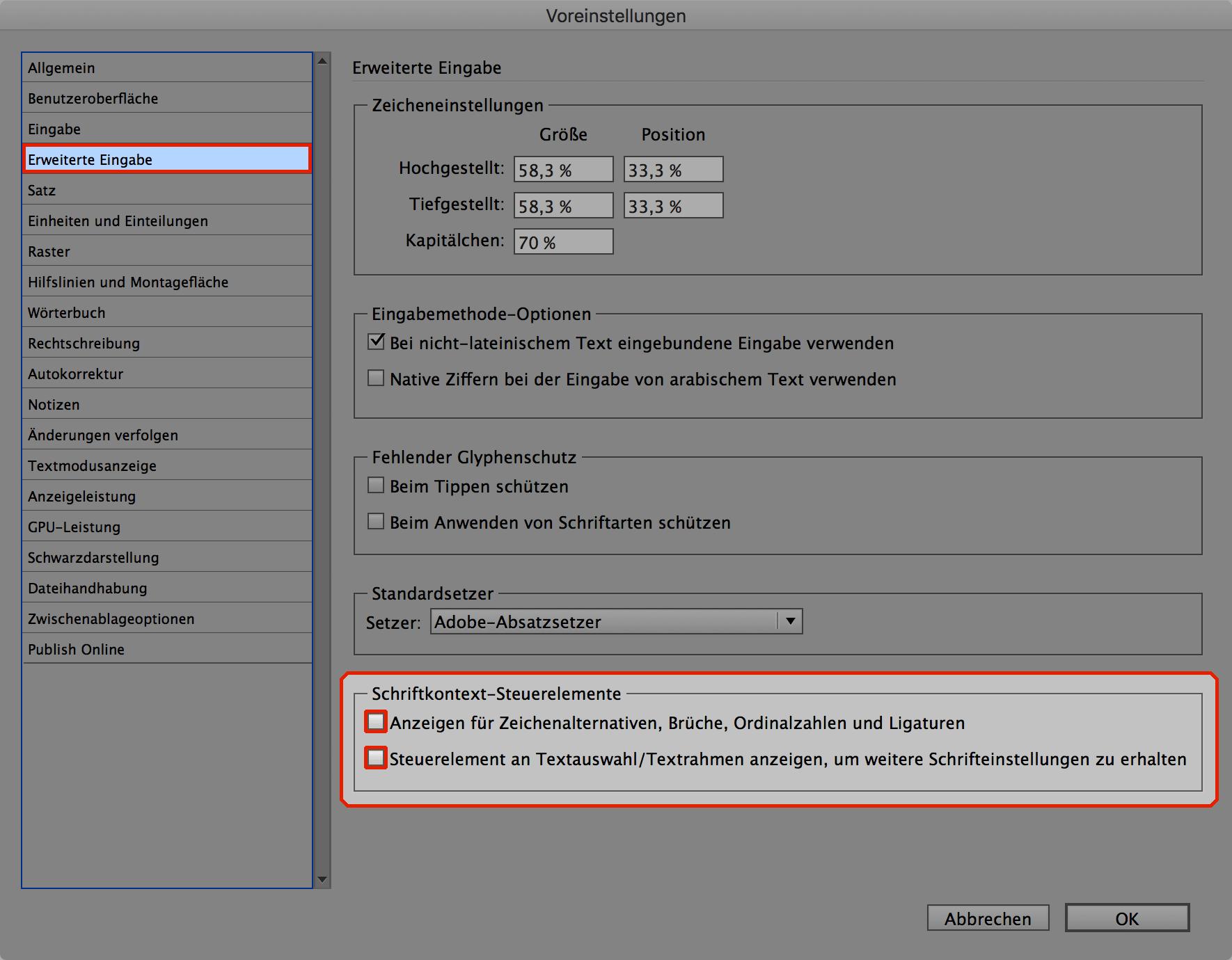 Bildschirmfoto der Voreinstellungen von Adobe InDesign CC2017 , Bereich Erweiterte Eingabe, mit dekativierte Opentype-Funktionen