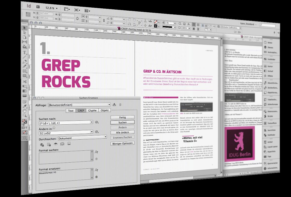 Bildschirmfoto von InDesign mit offenen Dokumenten