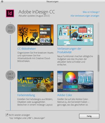 Der Startscreen von InDesign