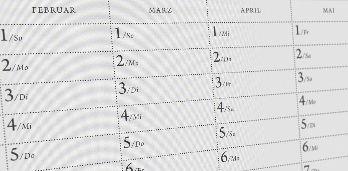 Ansicht eine Wandkalenders