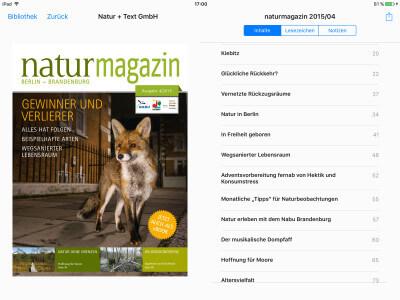 naturmagazin auf dem iPad mit iBooks