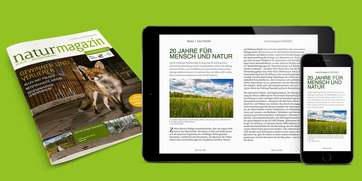 Montage zur crossmedialen Aussgabe des naturmagazin, als Print und E-Book auf iPad und iPhone