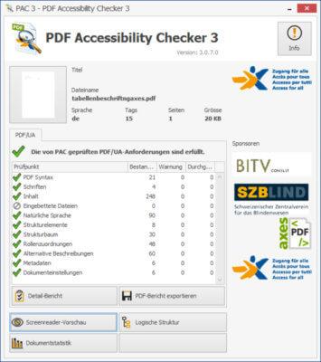 Bildschirmfoto Startseite des Programmes PAC3