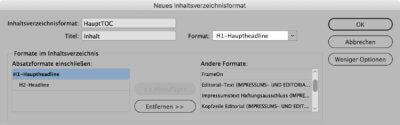 Bildschirmfoto InDesign, Menü zum Erstellen eines Inhaltsverzeichnisses