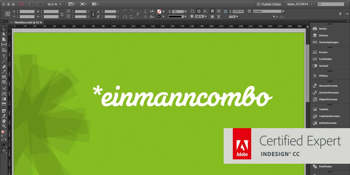 Bildschirmfoto von InDesign mit einen Adobe Certified Expert Logo darauf