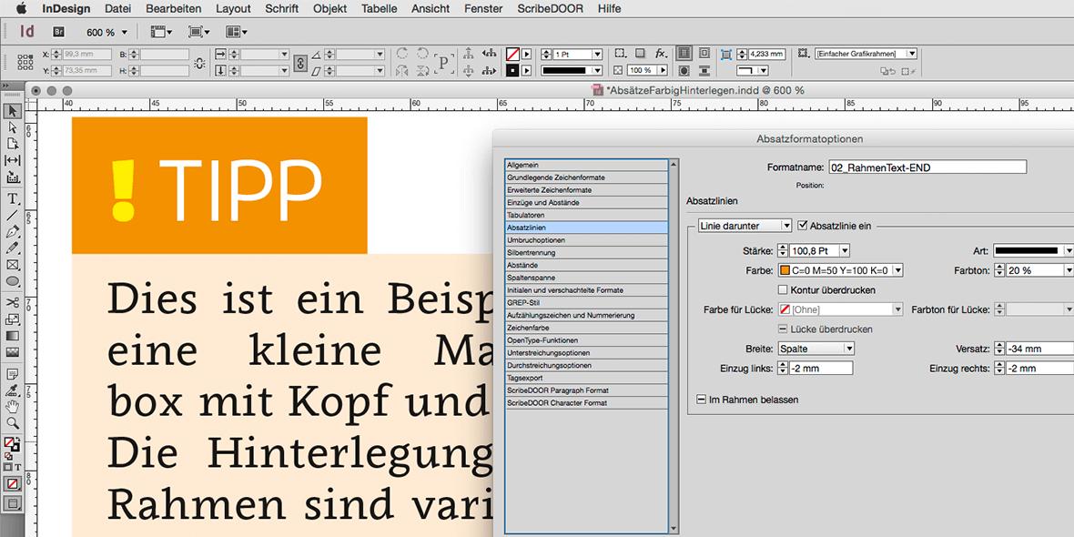 Bildschrimfoto von farbig hinterlegtem Text in Adobe InDesign