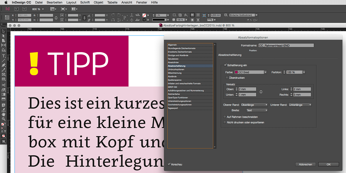 Bildschirmfoto Absatzformathinterlegung Adobe InDesign CC 2105