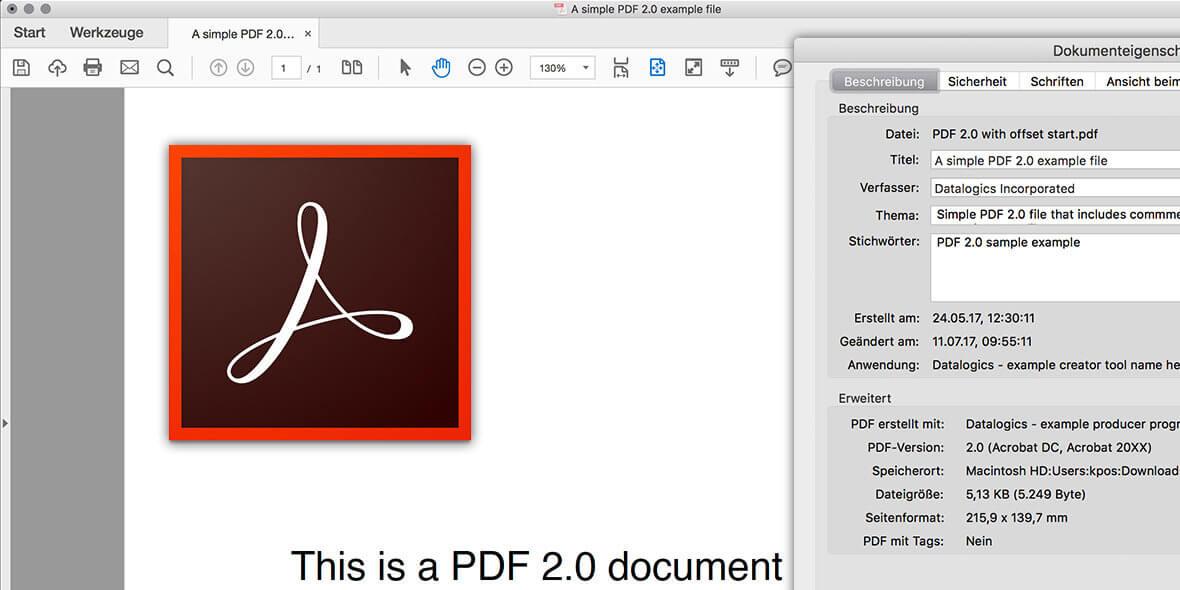 Bildschirmfoto von einen PDF 2.0 Dokument in Adobe Acrobat