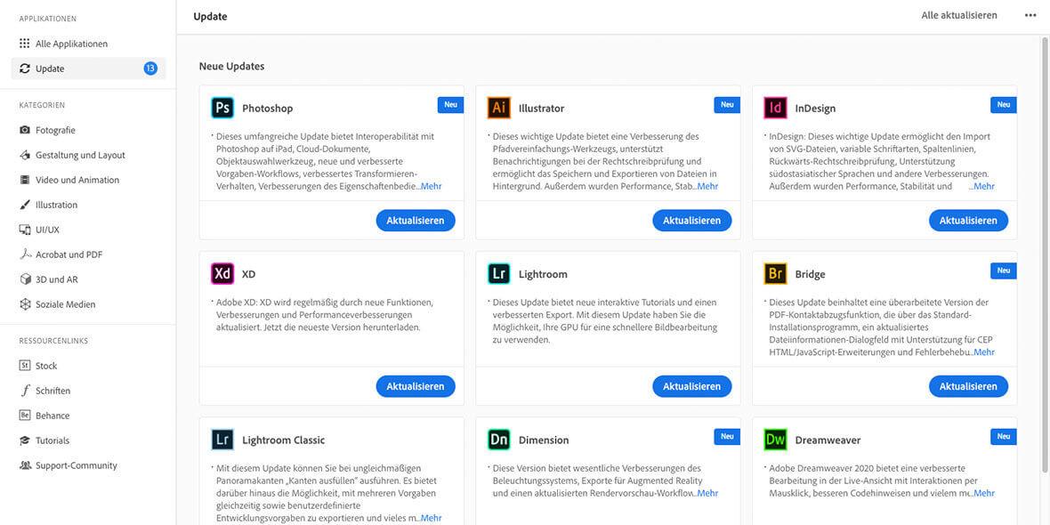 Bildschirmfoto Adobe Creative Cloud Programm, mit Updates
