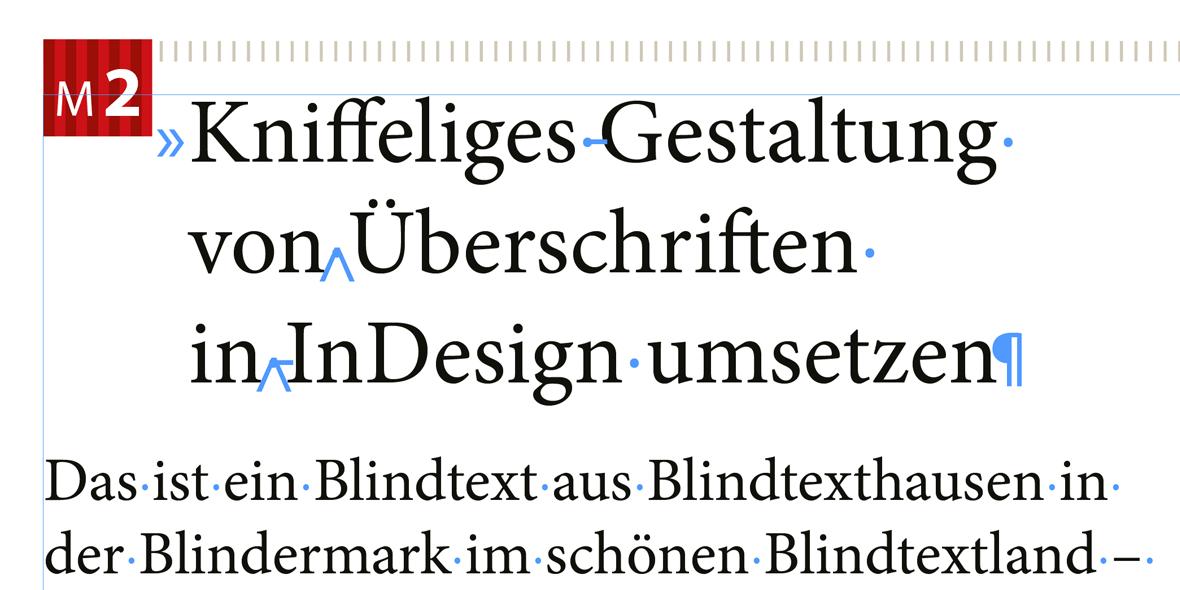 Bildschimfoto komplexe Überschriftengestaltung in InDesign