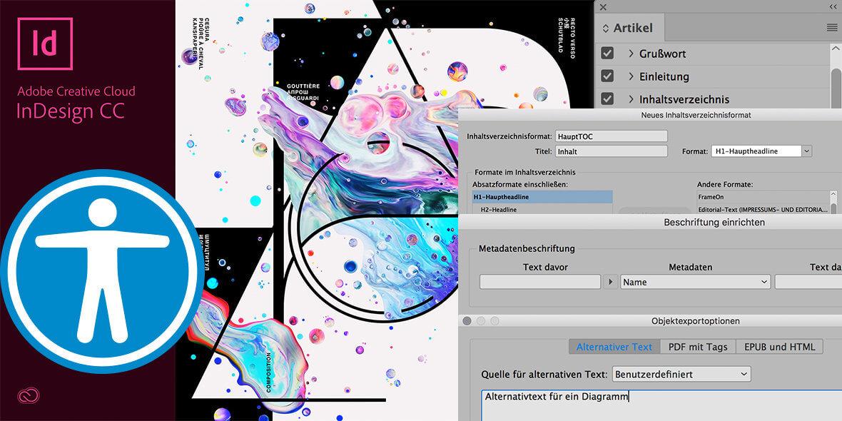 Montage aus Bildschrimfotos aus Adobe InDesign mit einem Logo für universellen Zugang