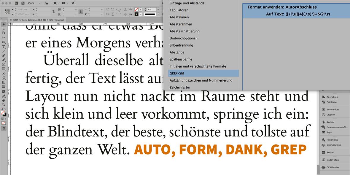 Palette mit GREP Stil in InDesign und einer Seite, wo ein Zeichenformat über GREP automatisch angewendet wird