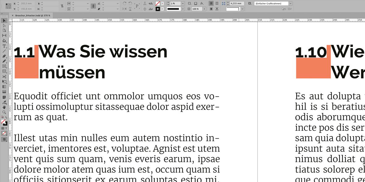 Bildschirmfoto InDesign, Markierung unterschiedlicher Abstände in Überschriften