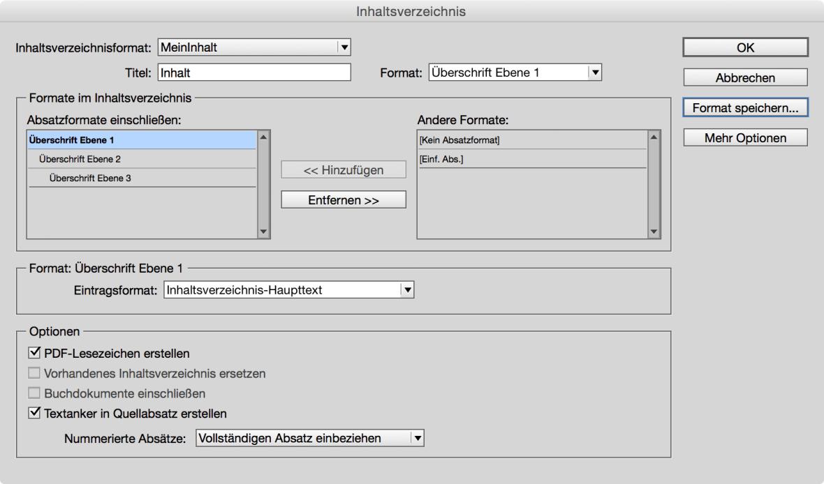 Bildschirmfoto Adobe InDesign Erstellung von Inhaltsverzeichnissen