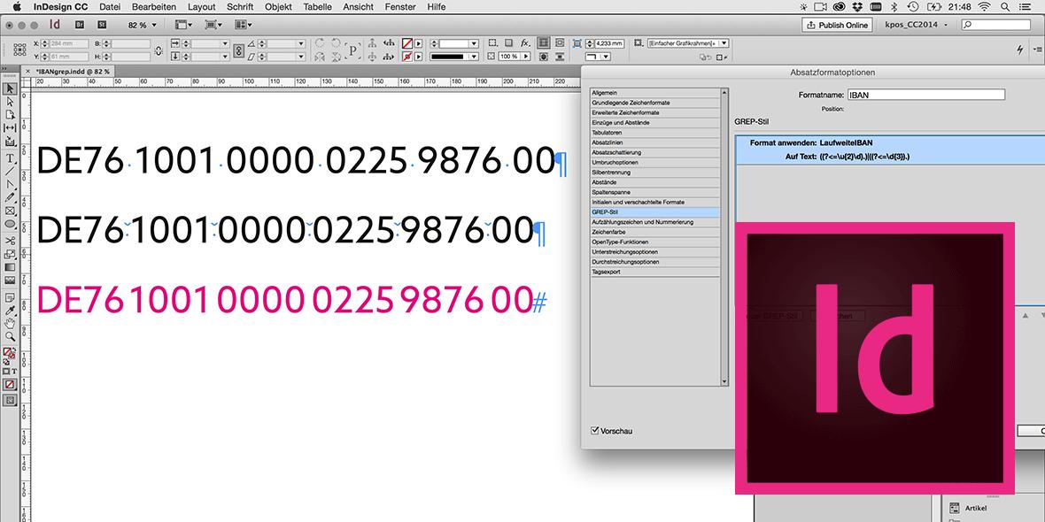 Bildschirmfoto Adobe InDesign mit IBAN Nummern und Grep-Einstellung im Absatzformat