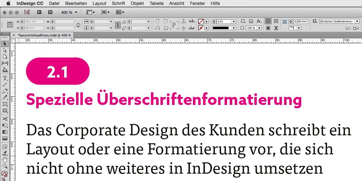 Formatierung einer farbig hinterlegte Überschriftennummerierung in InDesign