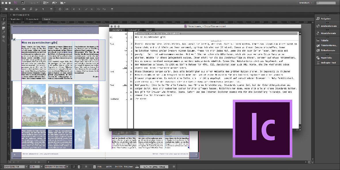 Bildschirmfoto Adobe InCopy bei einer Textkorrektur