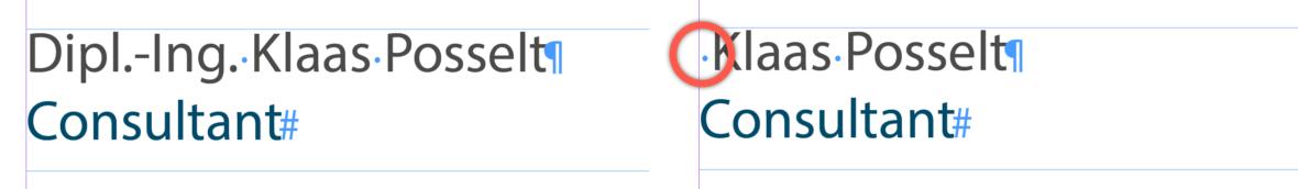 zwei Datensätzen, eines mit Titel, eines Ohne, hervorgehoben das Leerzeichen zu Beginn