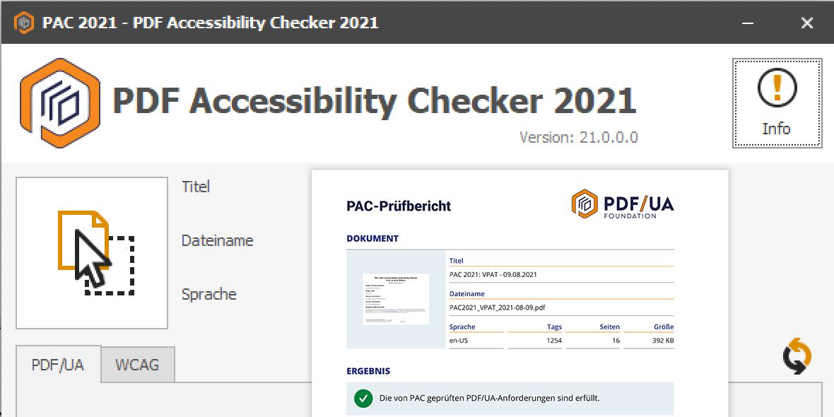 Starbildschirm PAC2021, mit montiertem Prüfbericht
