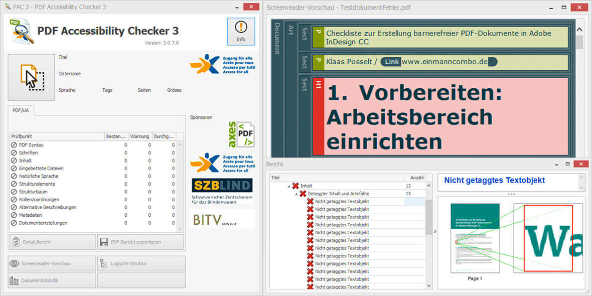 Montage Bildschirmfotos PDF Barrierefreiheit Prüfprogramm PAC3