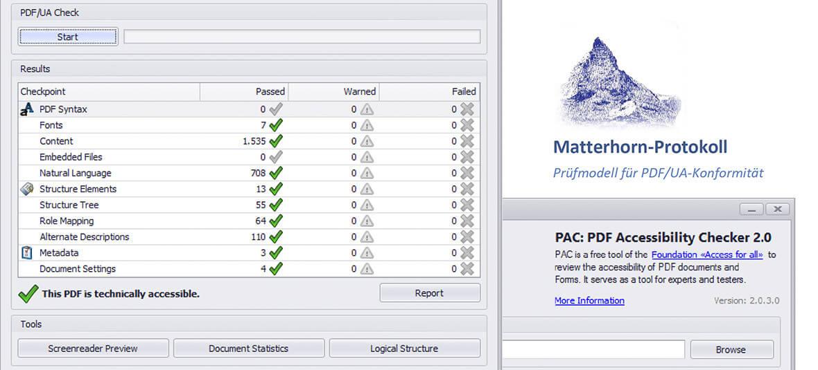 Bildmonatge für einen Artikel zur Prüfung von PDF/UA Dateien