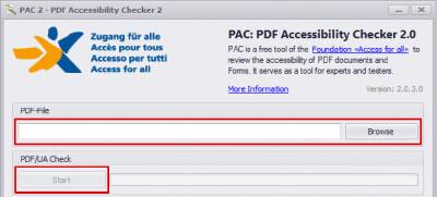 Auswahl zum Prüfen von Dateien im PAC