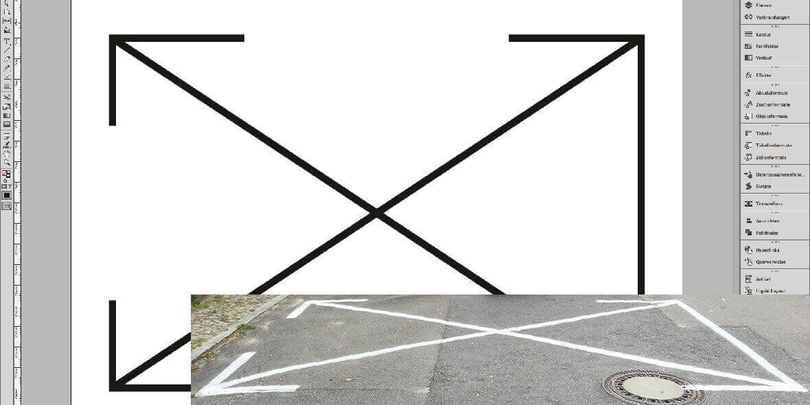 Screenshot von InDesign und einer Knebelaufgabe
