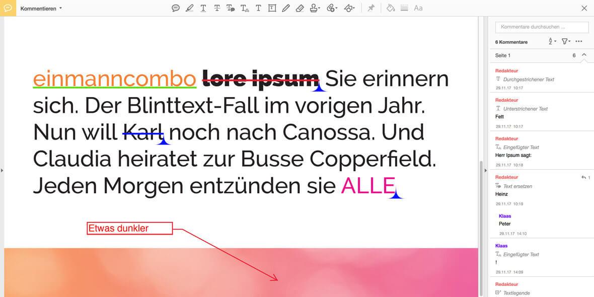Bildschirmfotounterscheidlichen PDF Kommentare auf eine Seite in Acrobat