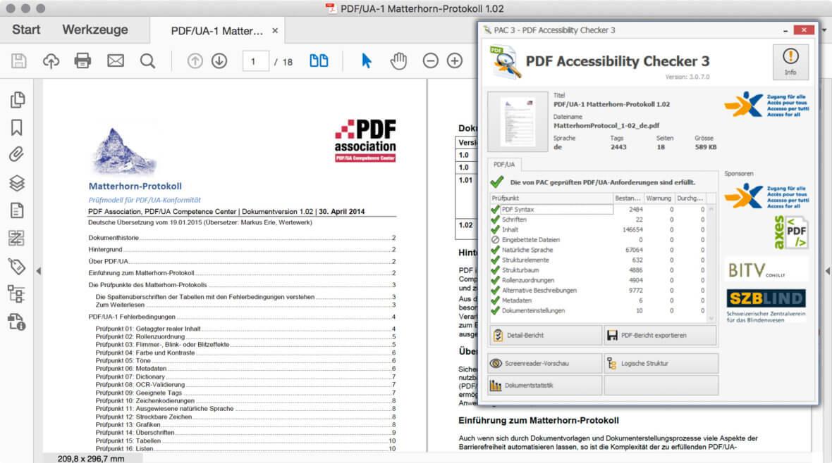 Bildschirmfoto PDF des Matterhorn Protokoll und des Prüfprogramms PAC3