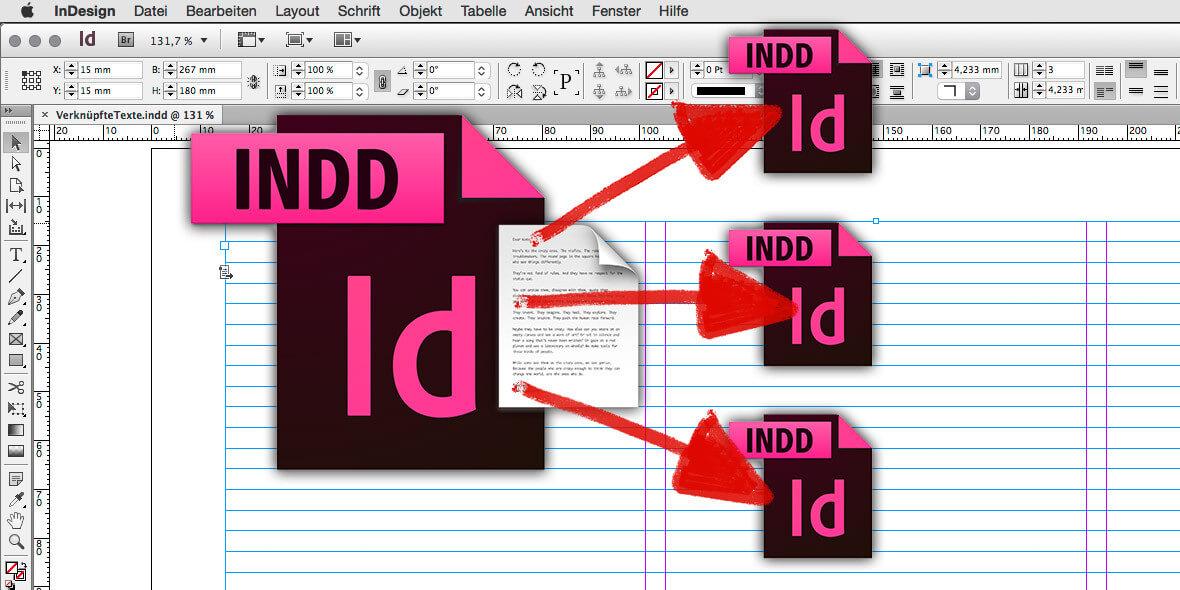 Bildmontage Verknüpfte Texte in InDesign