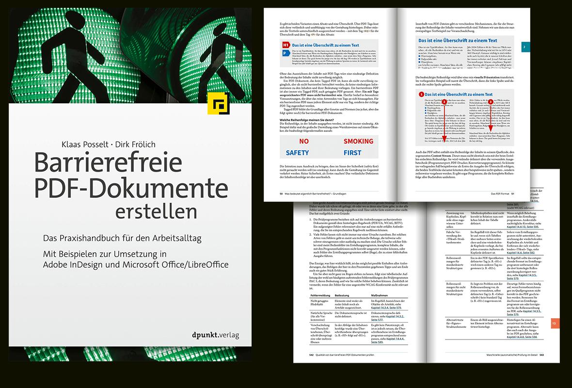 """Seiten aus dem Buch """"Barrierefreie PDF-Dokumente erstellen"""", verschiedene Text und Abbildungen"""