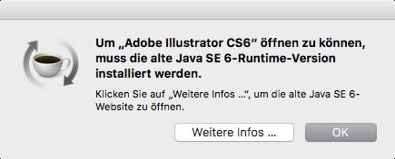Bildschrimfoto Fehlermeldung Öffnen von Illustrator, Java Installation notwendig