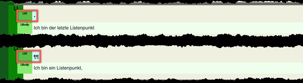 Bildschirmfoto Ausgabe von Listenpunkten aus InDesign CC2019, visualisiert mit pdfGoHTML