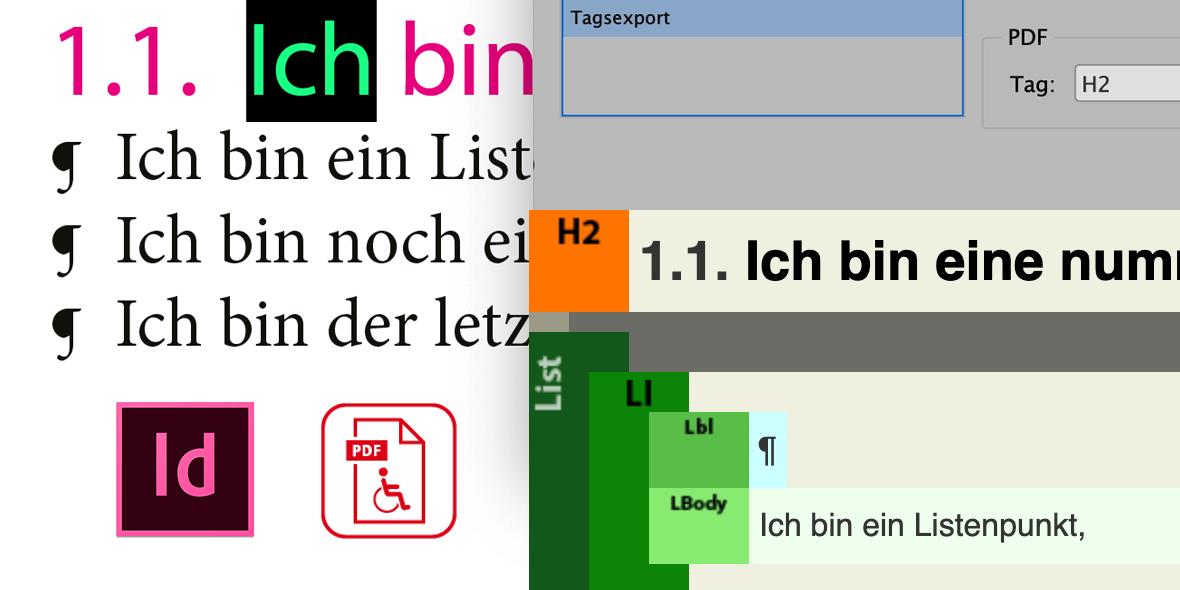 Montage aus Bildschirmfotos zu barrierefreie PDF-Dokumenten