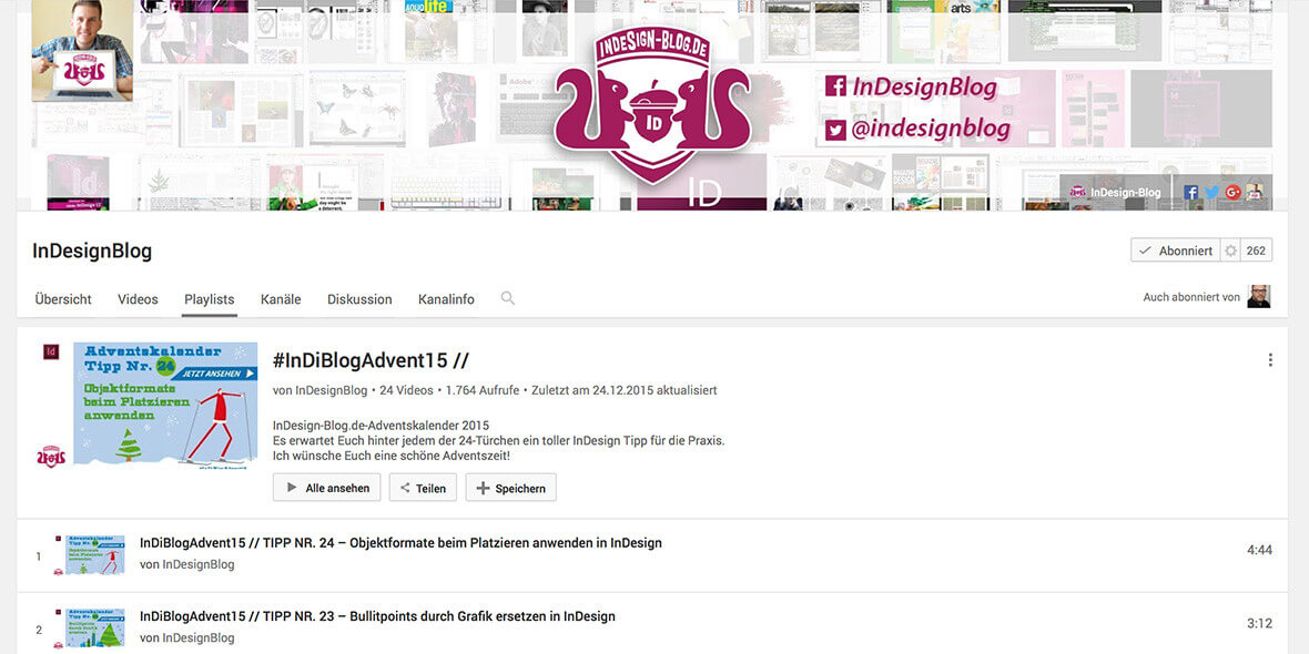Bildschrimfoto indesign-blog Youtube Kanal