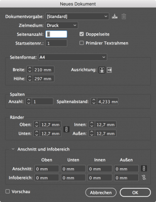 Bildschirmfoto: Dialog zum Anlegen von neuen Dateien in InDesign