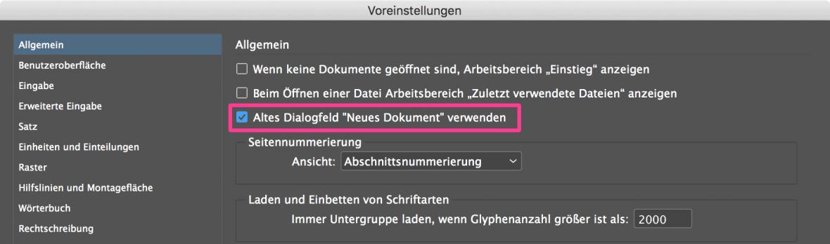 """Bildschirmfoto: InDesign Voreinstellungen, Aktiviert Option Altes Dialogfeld """"Neues Dokument"""" verwenden"""