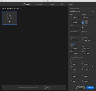 Bildschirmfoto: Neure Dateidialog in InDesign CC2017, skaliert um alle Optionen zu sehen